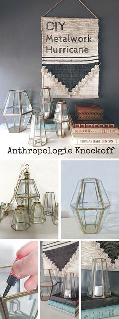 Check out the tutorial: #DIY #Anthropologie Metalwork Hurricane Knockoff #crafts…