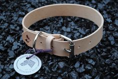 Natural Tan Leather Dog Collar by dogdoggoose on Etsy