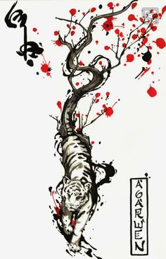 idea for a 'paper tiger' tattoo? WIND TIGER TATTOO DESING by Agarwen If I ever get my tiger tattoo, this is what I'd want it to look similar too. Kunst Tattoos, Tattoos Masculinas, Neue Tattoos, Trendy Tattoos, Flower Tattoos, Sleeve Tattoos, Tattoos For Women, Bodysuit Tattoos, Tatoos
