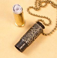 Time capsule necklace Triangulation etched bullet by Dazzlez Ammo Jewelry, Metal Jewelry, Jewelry Crafts, Jewelery, Handmade Jewelry, Gothic Jewelry, Jewelry Necklaces, Bullet Casing Crafts, Bullet Casing Jewelry