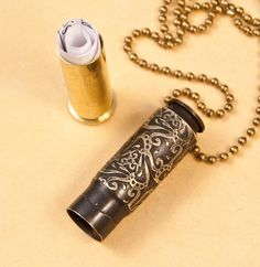 "This is the coolest piece of jewelry I have seen in a very long time, perhaps EVER! I love these designs:  Time capsule necklace - ""Triangulation"" etched bullet casing pendant - bullet jewelry. $30.00, via Etsy."