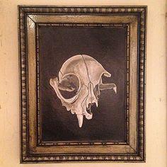 Catskull painting and my custom aged brass patina frame #art #handmade #custom #patina #catskull #study