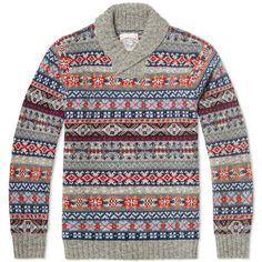 Jamieson's of Shetland Jaquard Fair Isle Shawl Neck Knit