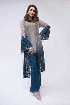 Maria B Latest Evening Wear Dresses Grey Suit Beautiful Pakistani Dresses, Pakistani Dresses Casual, Pakistani Dress Design, Casual Dresses, Eid Outfits Pakistani, Pakistani Dresses Online, Pakistani Designers, Beautiful Dresses, Pakistani Fashion Party Wear