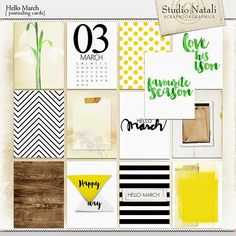 Free Hello March Journal Cards from Natali Design