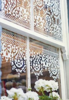 "I did this several years ago on my kitched door for a little privacy. I still love it and get lots of complements and ""how did yo do that's"": DIY window detail- dab glass etching liquid over old lace (I used plastic stencils from Michaels)."