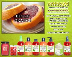 Blood Orange Product Collection - Mouthwatering blood orange intermingles perfectly with notes of tangerine leaf, italian bergamot, tangelo, and sheer floral petals. #OverSoyed #BloodOrange #Citrus #Citrusy #Candles #HomeFragrance #BathandBody #Beauty