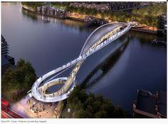 20 Most Iconic Proposals for a bridge over the River Thames in London Bridges Architecture, Futuristic Architecture, Amazing Architecture, Landscape Architecture, Architecture Design, Organic Architecture, Cabinet D Architecture, Bridge Design, Pedestrian Bridge