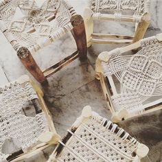 Woven Macrame wood stools boho