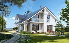 Z Charakterem 3 - wizualizacja 2 - Nowoczesny projekt domu z antresolą przeznaczony  na wąską działkę