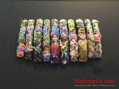 Painted Nail Art, 3d Nail Art, 3d Nails, Nail Manicure, Pedicure, Hand Painted, Mixed Media Boxes, Special Nails, Stiletto Nail Art
