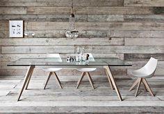tavolo Delta gambe legno piano vetro allungabile sedia Gamma Pianca