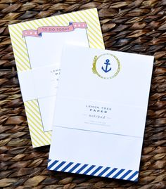 notepad set // anchor + yellow stripe