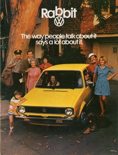 1975 Volkswagen Rabbit (or Golf, outside North America). On March the first production model of the car that was to replace the beloved Volkswage Vw Mk1 Rabbit, Mercedes Benz, Porsche, Volkswagen Golf Mk1, Auto Union, Daihatsu, Car Advertising, Old Ads, Brochures