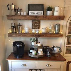 Coffee Station Kitchen, Coffee Bars In Kitchen, Coffee Bar Home, Home Coffee Stations, Coffee Corner, Coffee Nook, Bar Shelves, Rustic Shelves, Ledge Shelf