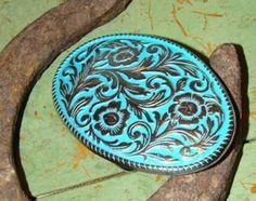 Turquoise Enamel Floral Design Western Belt Buckle