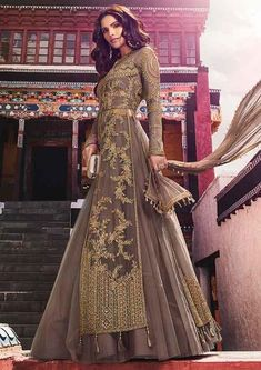 Embroidered Net Lehenga in Dark Fawn Plain Lehenga, Long Choli Lehenga, Lehenga Suit, Net Lehenga, Lehenga Style, Party Wear Lehenga, Anarkali Suits, Indian Dresses, Indian Outfits