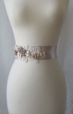 Champagne Dusty Rose Bridal Sash, Wedding Belt with Handmade Flowers and Champagne Gold Lace - DUSK. $145.00, via Etsy.