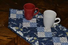 Blue Cream Quilted Table Runner Country Decor by MagpieQuilts