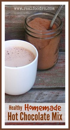 Healthy Homemade Hot Chocolate Mix. Healthy, protein filled and super easy to make. We use the mix to make hot chocolate, chocolate milk, and even sprinkled on top of icecream! Kids love it!  realfoodrn.com #hotchocolate #homemadehotchocolate