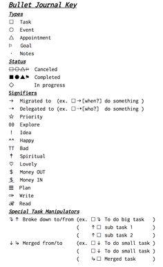 Keys for a Bullet Journal