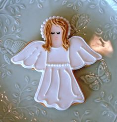 Image detail for -Angel cookie, baptism cookie, christening cookie, angel