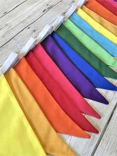 Rainbow Bunting brightens up anywhere - bedroom, playroom, garden or marquee Rainbow Bunting, Rainbow Flag, Curtain Rails, Fabric Bunting, Toddler Rooms, Play Houses, Color Change, Colours, Handmade Gifts