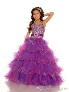 Wholesale Flower Girls Dresses - Buy 2014 Purple One-stopos Sexy Halter New Organza Belted Sequined Ball Gown Flower Girl Pageant Dresses $65.52 | DHgate