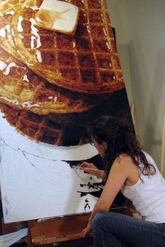 painting of waffles: I love it. Unfortunately I think this artist's paintings are a commentary on gluttony and mass-produced culture. They still look delicious to me!