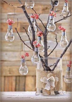 Hobby Lobby Project - A Glass Act - Crafty Glass **Not only bulb vase Bulb Flowers, Flower Vases, Vases Decor, Centerpieces, Wall Vases, Centerpiece Ideas, Diy Deco Rangement, Light Bulb Crafts, Diys