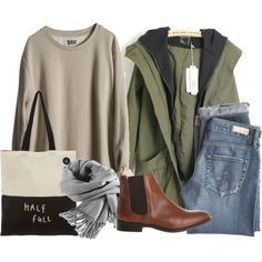 olive green utility jacket with grey hoodie, jeans, beige sweater, brown leather Chelsea ankle boots