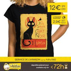 """(EN) """"Service de Livraison"""" designed by the astounding Adho1982 is our new t-shirt, brought to you by popular vote on www.wistitee.com. This limited edition t-shirt can be yours for only 12€/$14/£10. Reserve yours today!     (FR) """"Service de Livraison"""" créé par l'incroyable Adho1982 est notre nouveau t-shirt issu de vos votes sur www.wistitee.com. Cette édition limitée est à vous pour seulement 12€/$14/£10. Dépêchez-vous !     #KikiLaSorciere #KikisDeliveryService #witch #sorciere #cat…"""