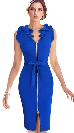 Bow Knot Bodycon Sleeveless Solid Evening Dress