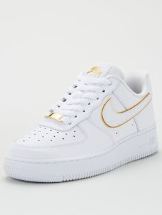 All Nike Shoes, Nike Shoes Air Force, Nike Air Max, Nike Air Force High, Zapatillas Nike Air Force, White Air Force Ones, Gold Trainers, Aesthetic Shoes, Nike Gold