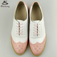 Genuine leather big woman US size 11 designer vintage flat shoes round toe handmade white pink 2017 oxford shoes for women fur