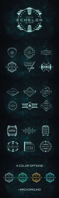 A set of 18 futuristic badges in 4 different color schemes. Also includes a high resolution space background Template #design Download: https://creativemarket.com/MehmetRehaTugcu/238804-18-Sci-Fi-Badges?u=ksioks