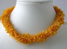 "17"" 4-row orange branch coral necklace"