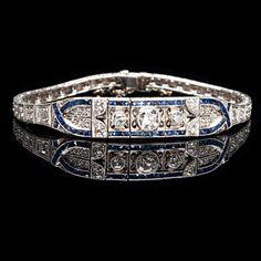 Art Deco Jewelry Trend: platinum diamond and sapphire bracelet.