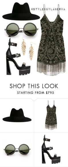 """Untitled #921"" by amanda-lanerva ❤ liked on Polyvore featuring Yves Saint Laurent, Haute Hippie, Versace and Humble Chic"