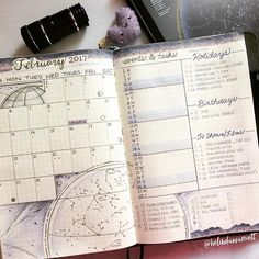 🌓✨⭐️ My February monthly spread... I didn't use the typically red, pink and hearts theme. I wanted something unique. Since February's birth stone is amethyst, I created a galaxy theme of purples, constellations, etc. I love anything sci-fi, astronomy, and time and space. It's a reflection of me. . For my layout, I combined a few styles. After looking at Feb's future planning events, I dedicated a whole column for them. I used the dot color-coding system for my calendar, like I did for April…