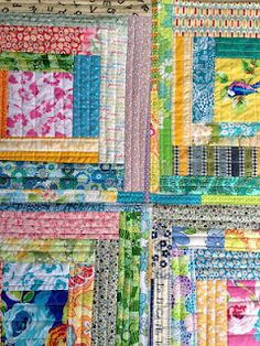 Close up of quilt as you go wonky log cabin