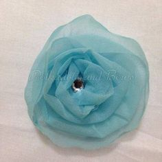 *handmade* light blue ruffled lace flower