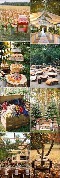 rustic outdoor fall wedding ideas- country outdoor wedding decors