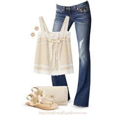 Cream Lace top, Flower sandals