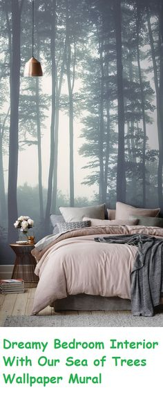 Dreamy Bedroom Interior With Our Sea of Trees Wallpaper Mural