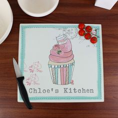 Glass Chopping Boards - Personalised Glass Chopping Board Vintage Cupcake - http://www.vivabop.co.uk/products/personalised-glass-chopping-board-vintage-cupcake