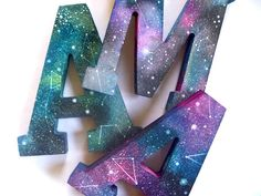 this will go with the blue and green stuff... HandPainted Wooden Spacey Monograms by anavicky on Etsy, $22.00