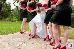 Colored shoes black dresses