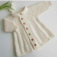 Knitted Coat jacket Vanilla – shop online on Livemaster with shipping – Baby knitting patterns Shrug Knitting Pattern, Baby Knitting Patterns, Baby Patterns, Knitted Baby Cardigan, Knitted Coat, Crochet Dress Girl, Crochet Baby, Girls Sweaters, Baby Sweaters