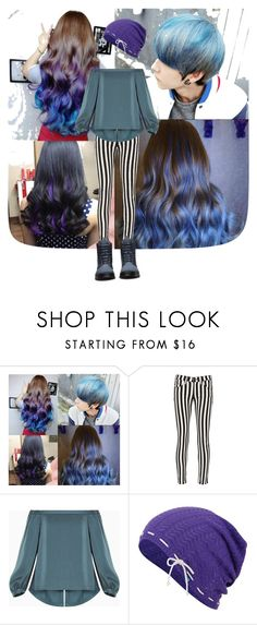 """Blue cool"" by lilyedlily ❤ liked on Polyvore featuring beauty, rag & bone/JEAN, BCBGMAXAZRIA, Keds, Dr. Martens, hairtrend and rainbowhair"